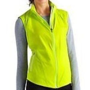 Athleta Jammin Run Vest Zip Neon Green